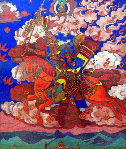 Dipinto del Re di Shambhala di Nicholas Roerichf presso il Museo d'Arte di Zanabazar, Ulaan Baatar, Mongolia